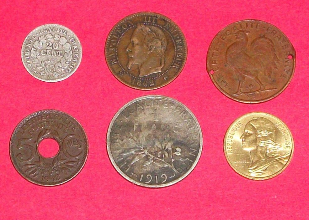 six old French coins 1850, 1862, 1910, 1918, 1919, 1982