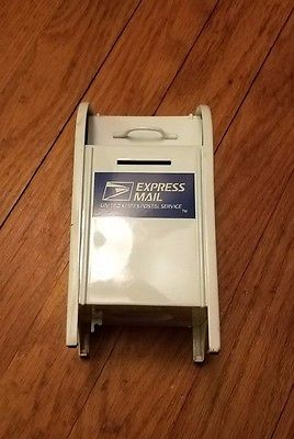 USPS Express Mail Post Office White Metal Mailbox REPLICA Coin Bank GEARBOX 1997