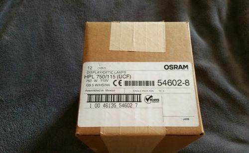 Case of (12) Osram HPL 750/115/ (UCF) 115V G9.5 w/Hsink 54602 Lamps New