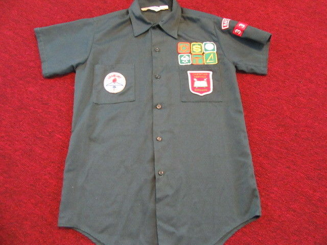 Vintage Cub Boy Scout Uniform Shirt Green Short Sleeve Youth ? Size 16 - patches
