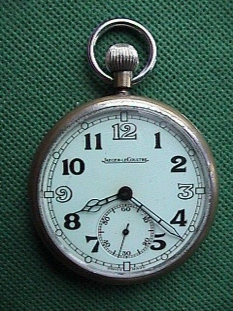 VINTAGE JAEGER LeCOULTRE OPEN FACE MILITARY POCKET WATCH GOOD CONDITION
