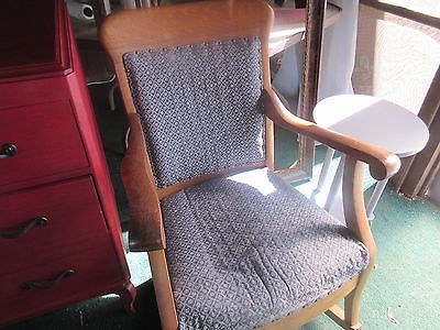 WOOD  ROCKING CHAIR BLUE MATERIAL pick up only