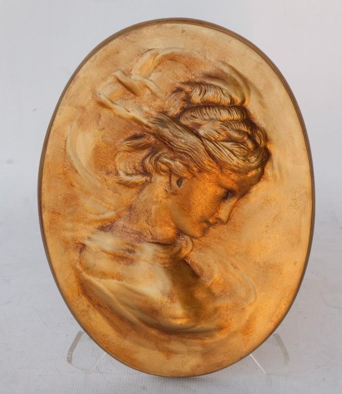 Vintage GOLD plaster woman wall plaque