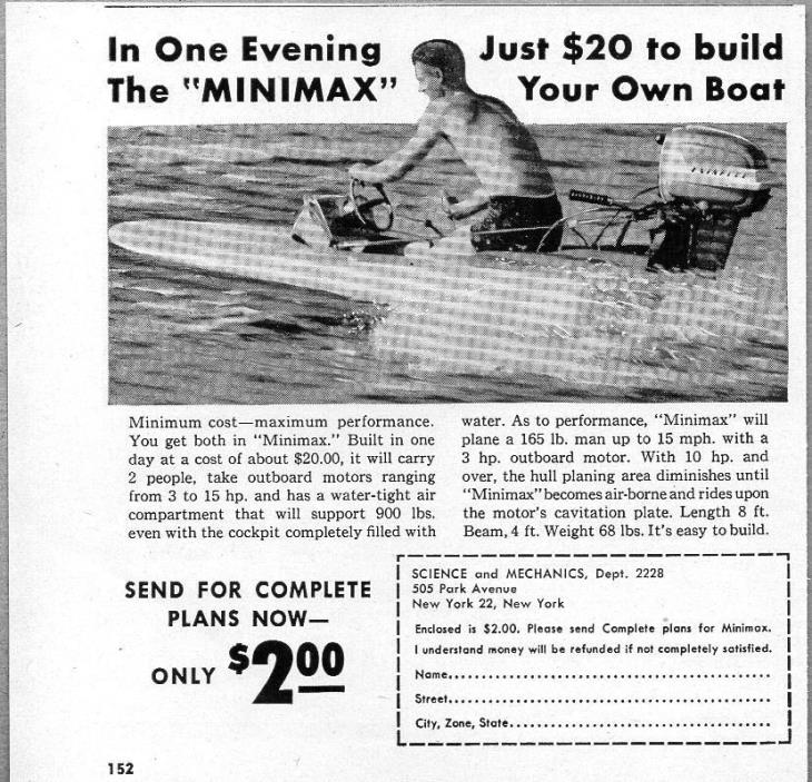 1962 Print Ad Minimax Speed Boat Do-It-Yourself-Kit Evinrude Outboard Motor