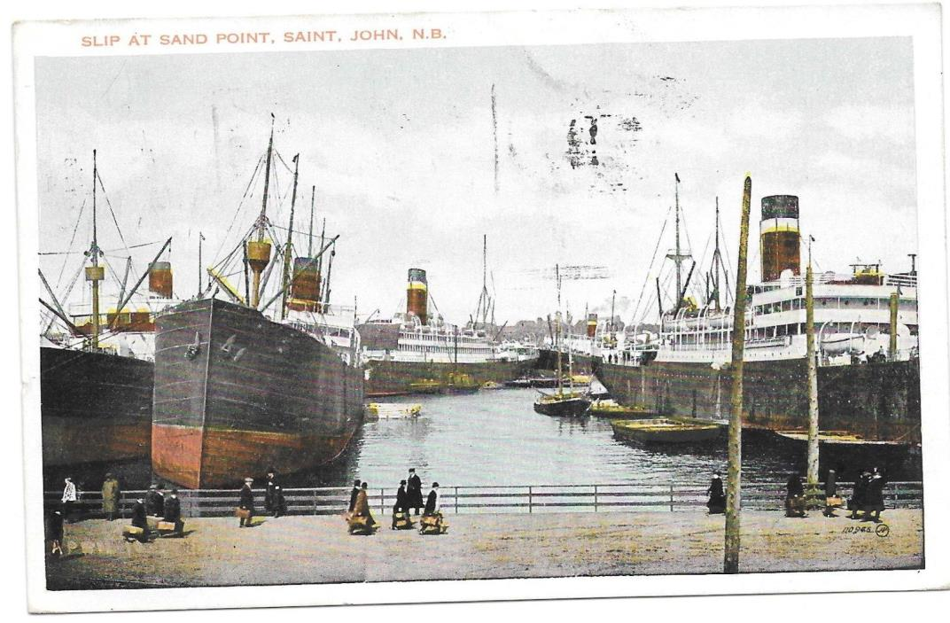 ST.JOHN, N.S.1928 VIEW SHIPS IN HARBOR SLIP.FRANKED W  # 142