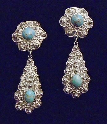 Antique Victorian Etruscan (950)  Sterling Silver Earrings