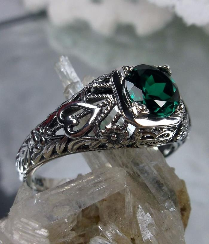 Natural Emerald Sterling Silver Art Deco Love Filigree Ring {Made To Order} #211