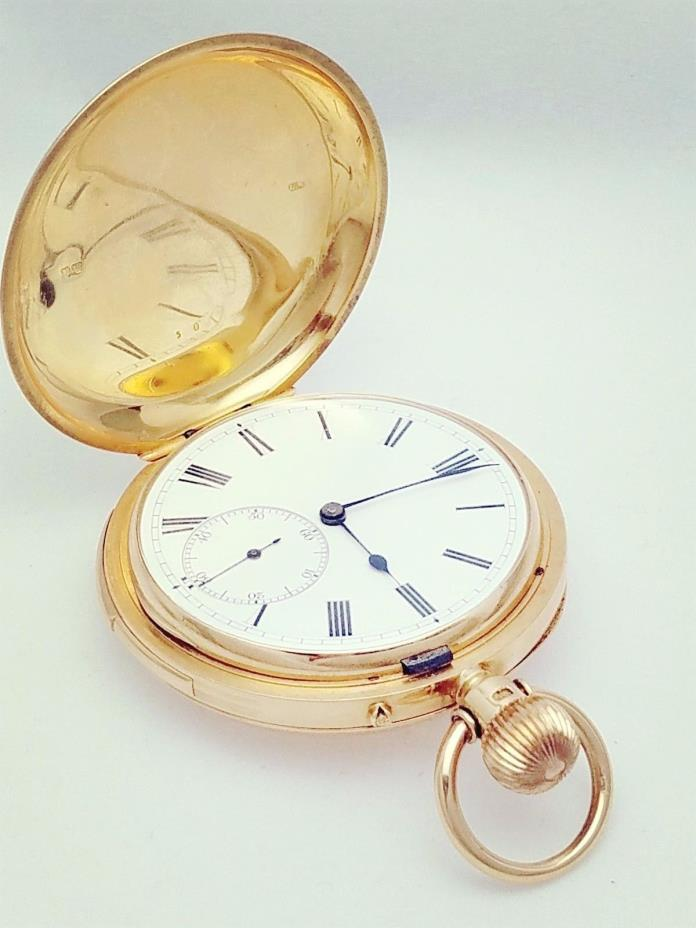 18k Solid Gold Pocket Watch w/ Two-Tone Blue Decorative Motif  - 132g -Unbranded