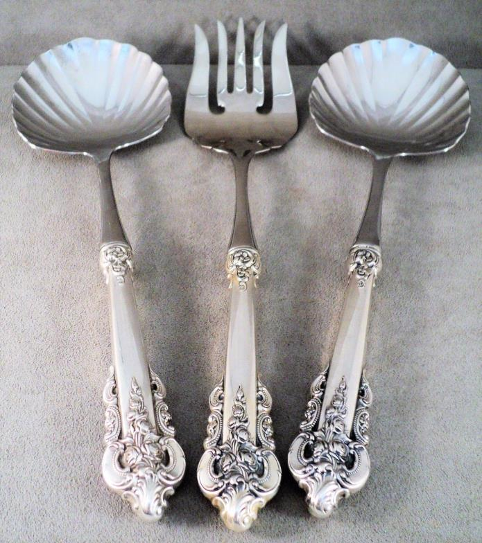WALLACE Grande Baroque 3 Pc Sterling Silver Serving Set - 2 Shell Spoons &1 Fork