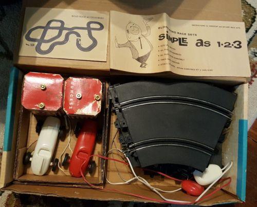 1964 Eldon Handicap Road Race Scale Car Racing - IOB Track Slot Cars Batteries