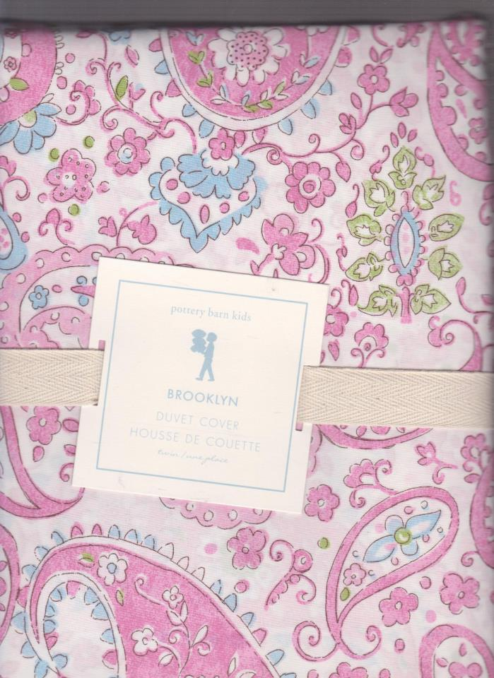 pottery barn kids Brooklyn Twin Duvet, pink,paisley, with blue,green