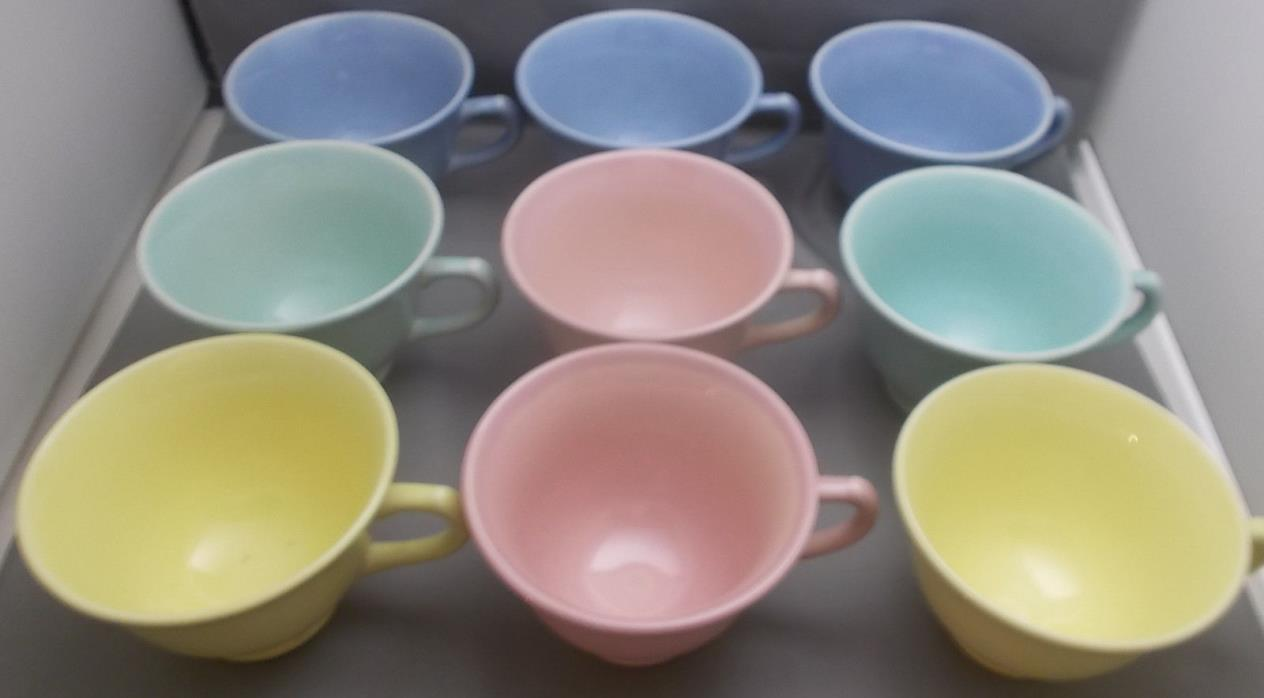 LU RAY Vintage Pastel Cups  Set of Nine  Pink Yellow Blue Green  U. S. A.