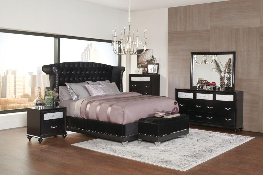 4 PC BLING BLACK METALLIC VELVET TUFTED KING BED BEDROOM FURNITURE SET