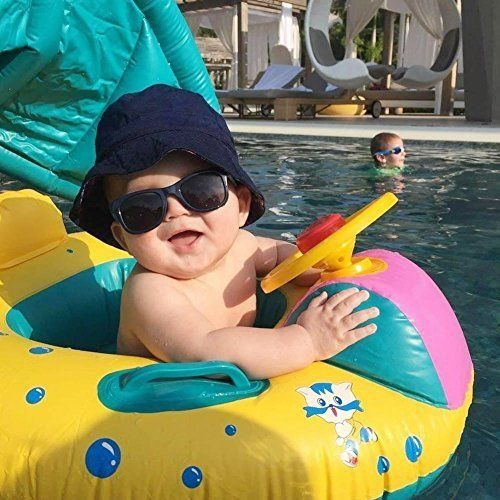 Baby Pool Float with Sun Canopy Inflatable Kids Swimming Floats Outdoor Fun Play
