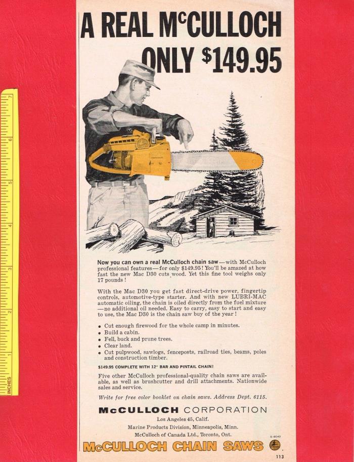 Vintage 1958 McCULLOCH MAC D30 CHAIN SAW CHAINSAW Original Print Advertisement