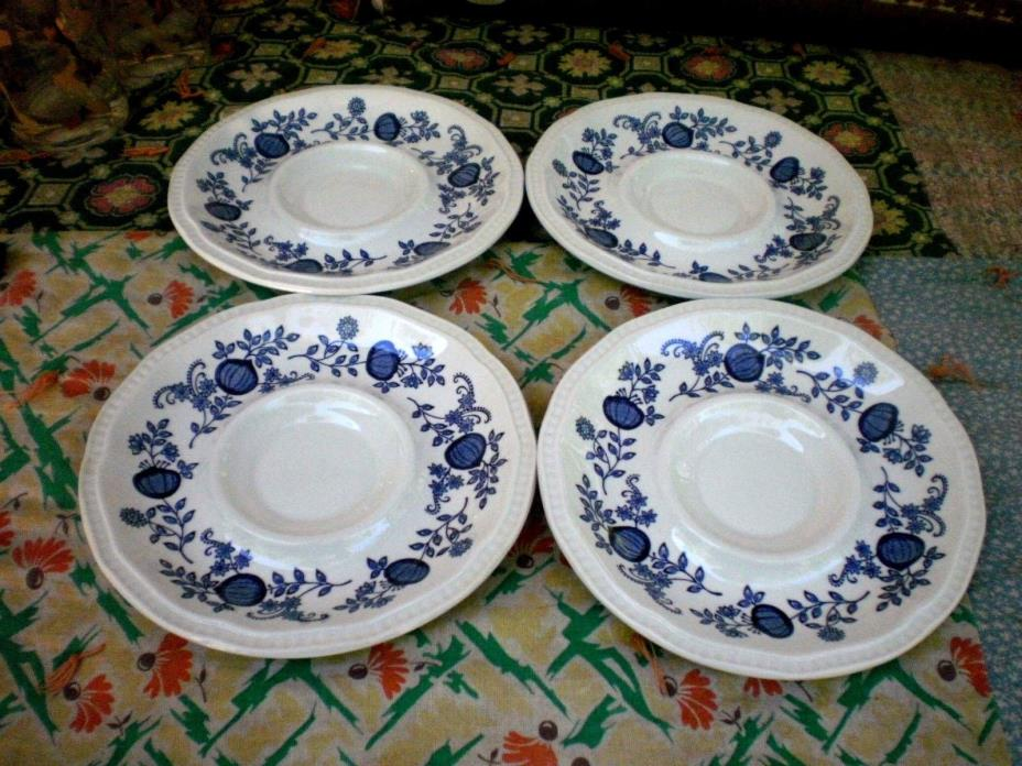 (4) KENSINGTON STAFFORDSHIRE  Ironstone Coventry Blue Onion Saucers England