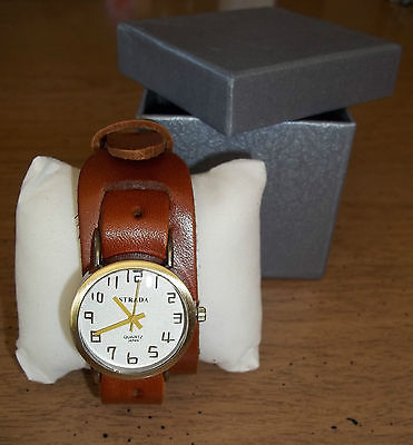 STRADA WATCH WITH CAMEL LEATHER STRAP ** JAPANESE QUARTZ MOVEMENT Unisex