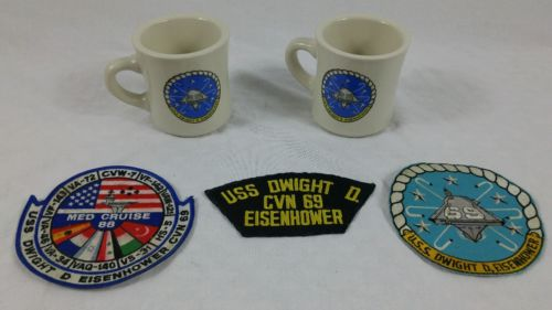US Navy U.S.S. Dwight D. Eisenhower Collectibles 3 Patches & 2 Mugs Lot Military