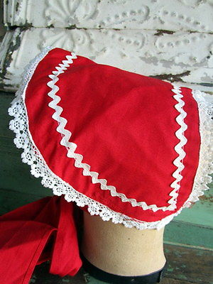 Vintage Red Lace Ric-Rack Sunbonnet handmade hat with Patterns to make more
