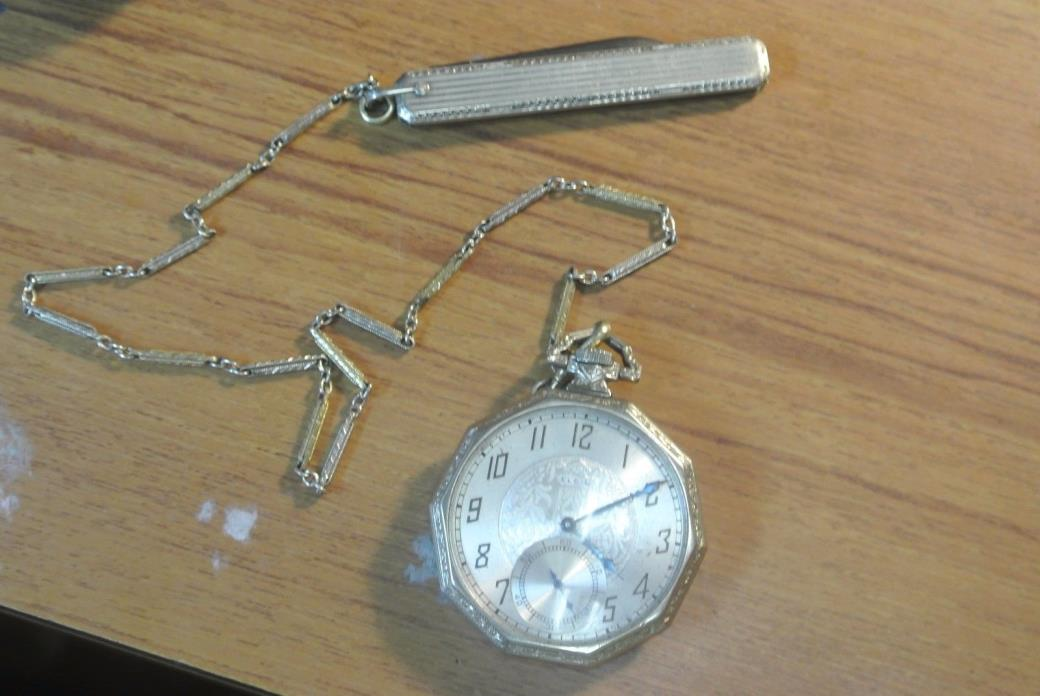 ELGIN 12-S TWO TONE 14KT GF POCKET WATCH WITH CHAIN AND KNIFE. 1926 30527011 RUN
