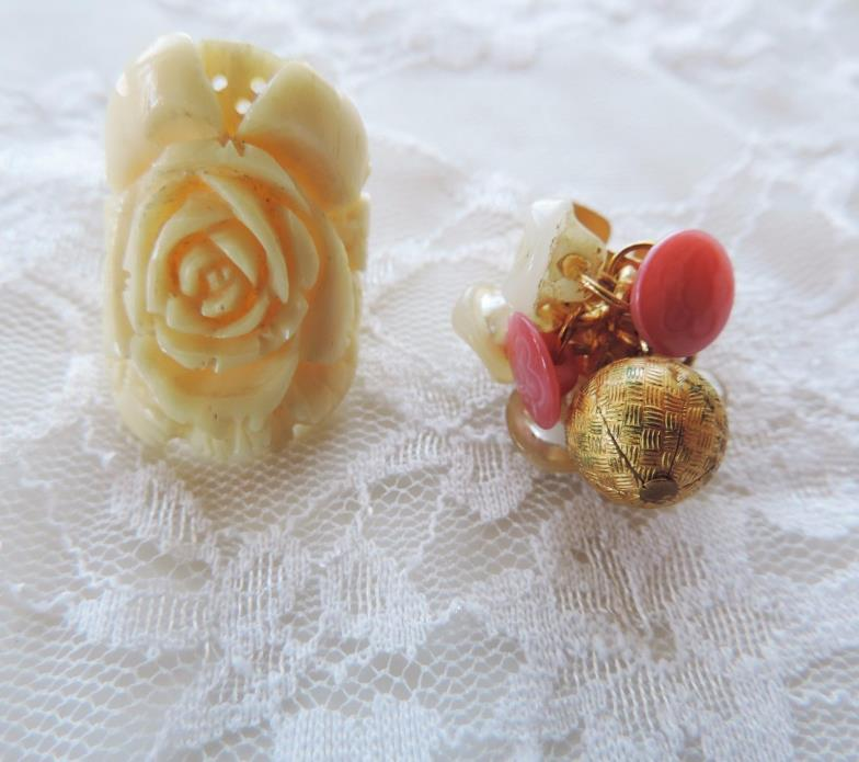 Costume Jewelry Rings Lot 2 Carved Rose Celluloid Vintage Buttons Handmade Ring
