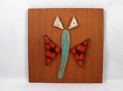 VINTAGE MID CENTURY MODERN CHALVIGNAC QUEBEC ART POTTERY BUTTERFLY WALL PLAQUE