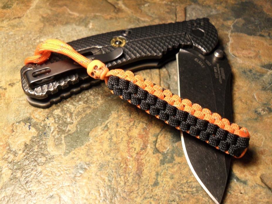 ORANGE REFLECTIVE & BLACK HARLEY DAVIDSON BOX PARACORD KNIFE LANYARD W/ SKULL