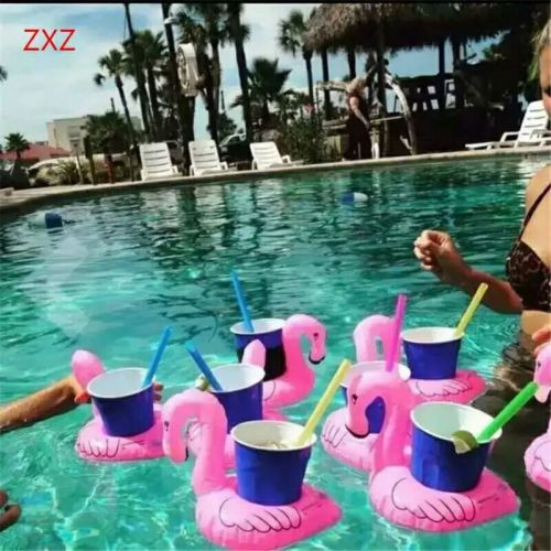 Red Flamingo Floating Inflatable Drink Holder Swimming Cute Funny Toys  Drinks S