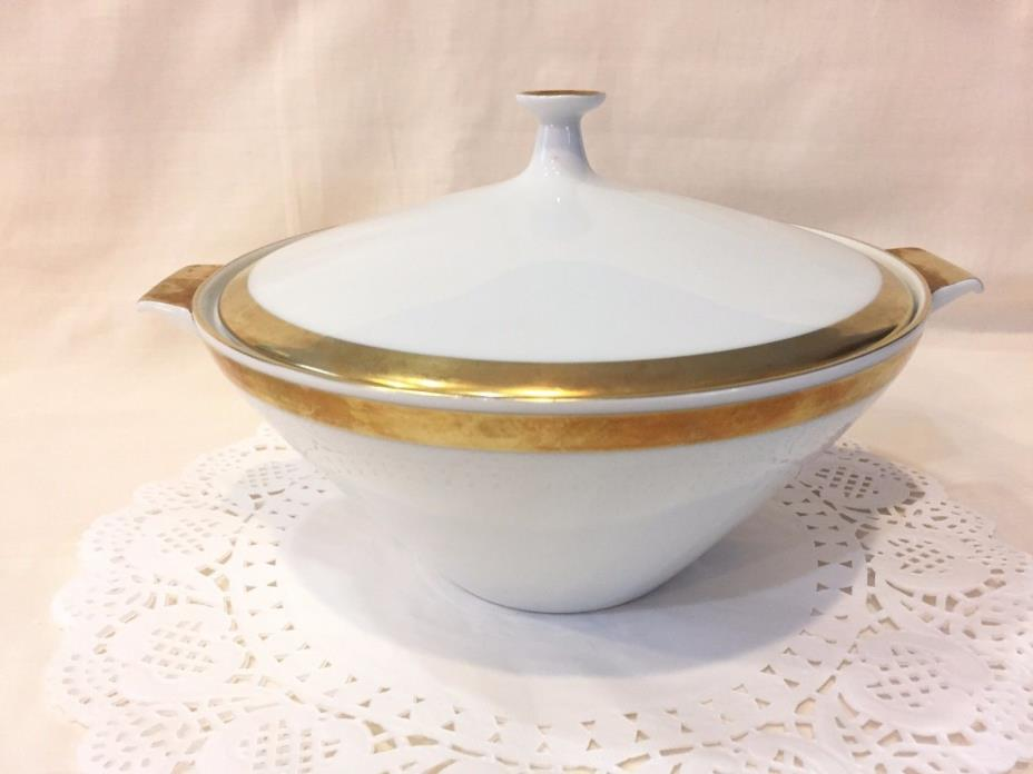 Round Vegetable Bowl w/Lid Byzanz H&C Selb Bavaria Heinrich Gold Encrusted Band