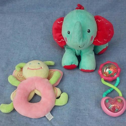 Bright Starts Barbell, Plush Crinkle Elephant, Stuffed Butterfly Ring Rattles