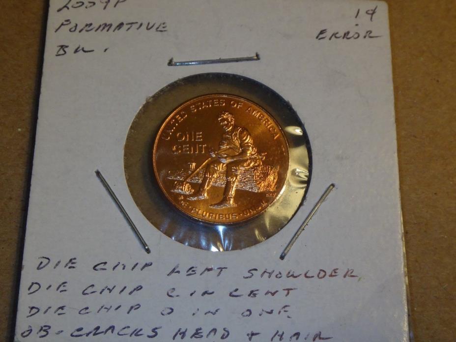 2009 Abraham Lincoln Log Splitter cent / penny - Error - chips and cracks