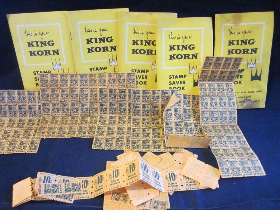 KING KORN Trading Stamp Lot of 5 Books & Unused Stamps