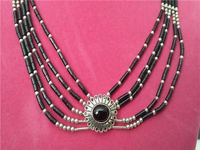 Vtg Native American Sterling Liquid Silver Onyx Beaded Choker
