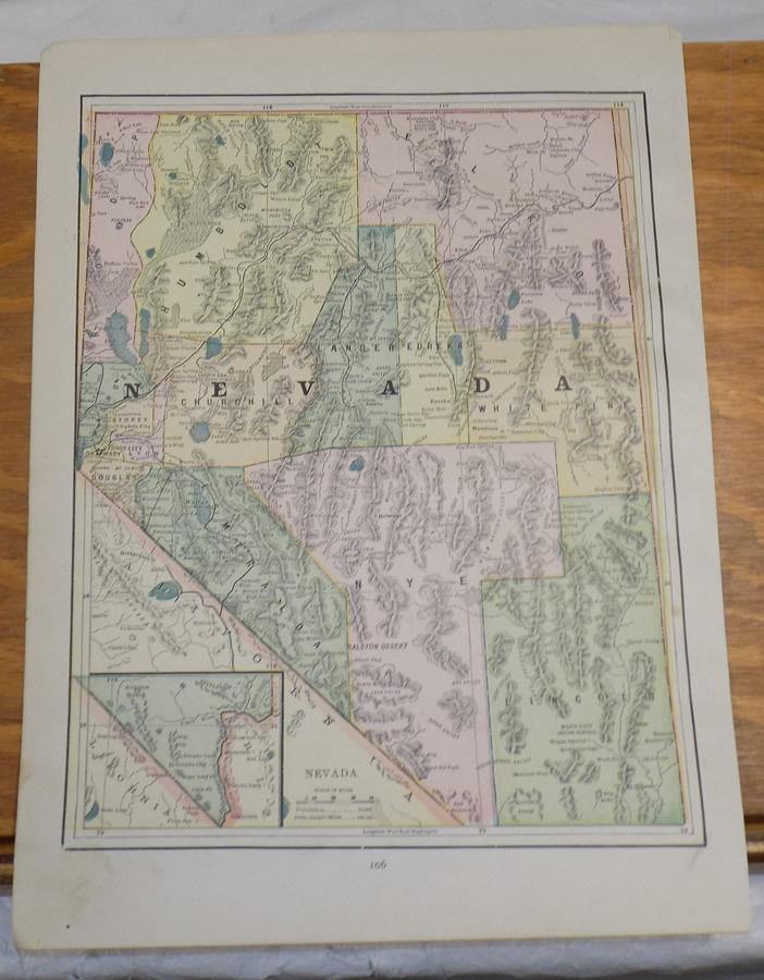 1891 Antique CRAM Map///NEVADA