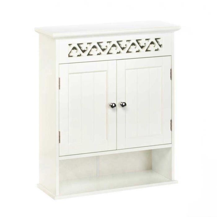 Ivy White Trellis Hanging Wall Bathroom Cabinet Display Shelf Decor