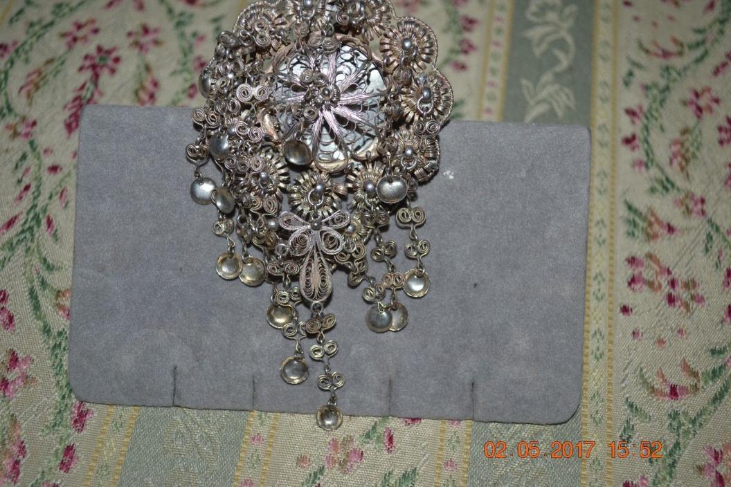 Large Vintage Swedish Sterling Sjole Brooch Wedding Bridal 35.1 grams