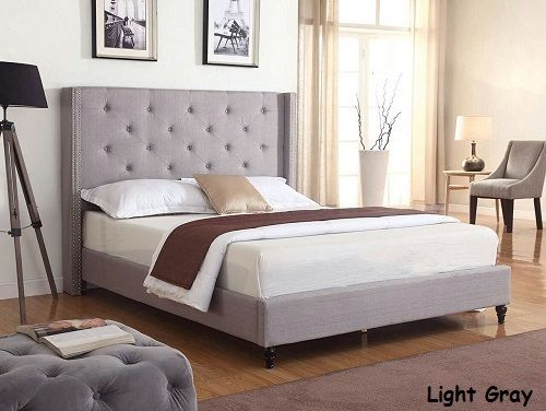King Queen Full Twin Size Beds Platform Bed Upholstered Gray Headboard & Frame