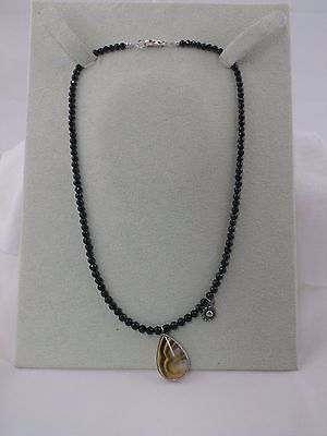 Jes MaHarry Bumble Bee Agate pendant & charm on faceted black spinel necklace
