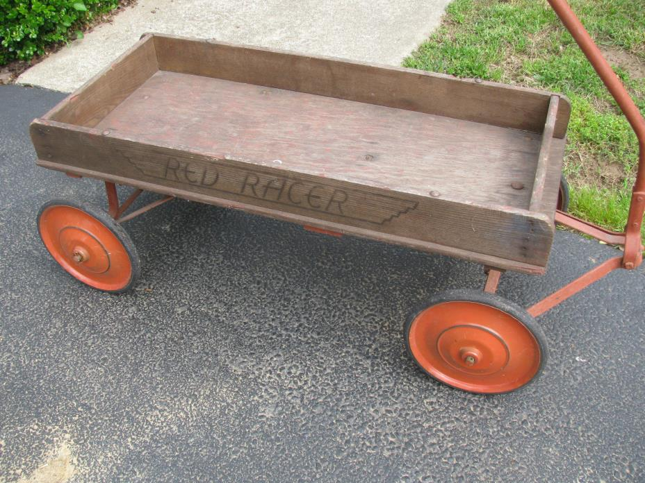 75 Years Old Plus Red Racer Wooden Pull Wagon All Original Paint