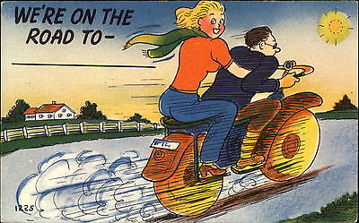 Motorcycle ~ We're On the Road to … ~ 1940s linen