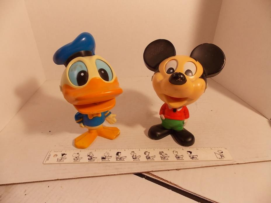 VINTAGE 1976 MICKEY MOUSE AND DONALD CHATTER CHUMS TALKING PULL STRING BY MATTEL