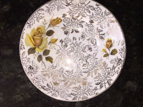 Antique H. Aynsley & Co Staffordshire Yellow Roses & Gilt Serving Bowl