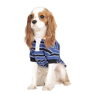 Dog Cat Puppy Clothes Apparel Blue Striped Polo Shirt