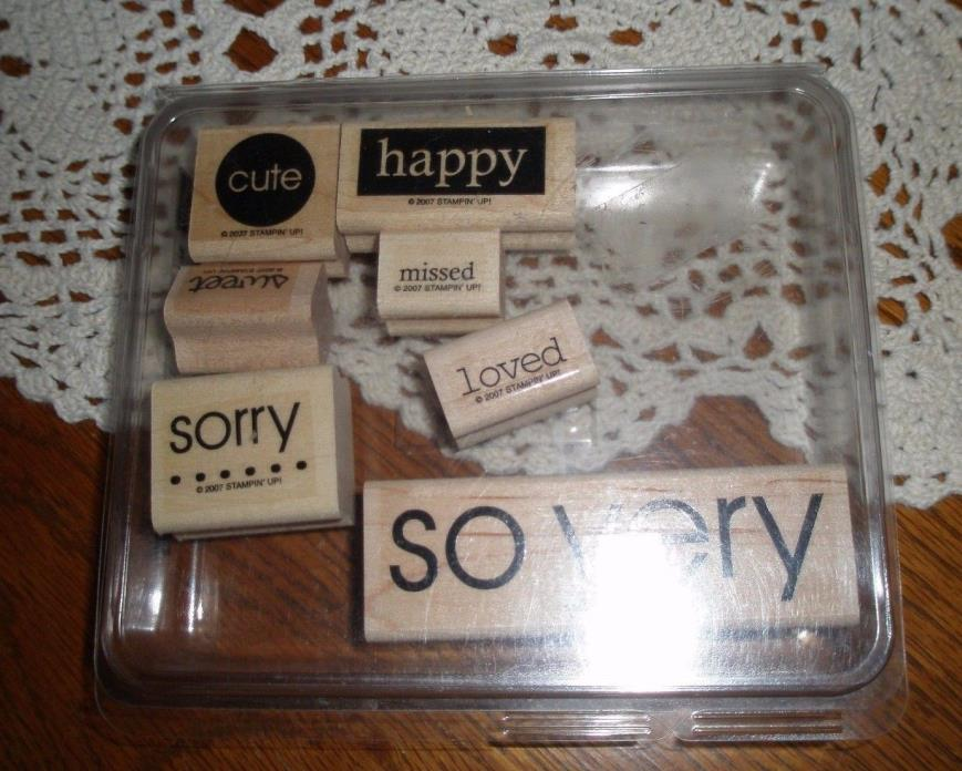 STAMPIN' UP  ~ SO VERY ~ 7 pc RUBBER STAMP SET ~  WITH CASE ~ USED