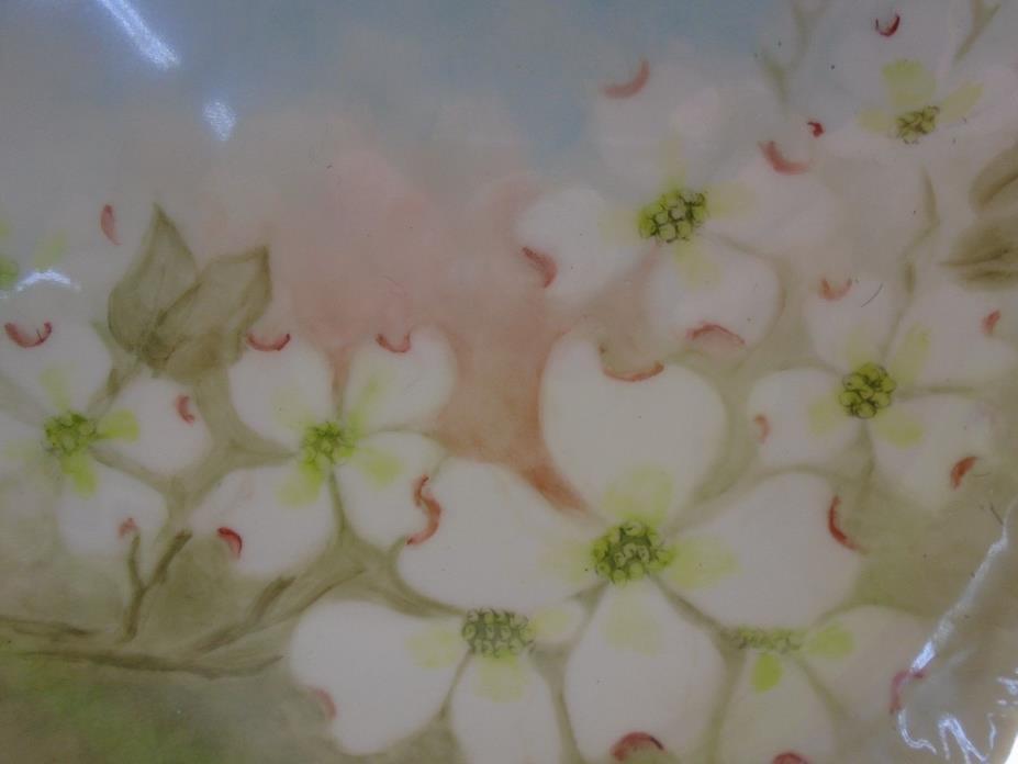 Vintage Hand Painted Dogwood Blossom Porcelain Cabinet Plate
