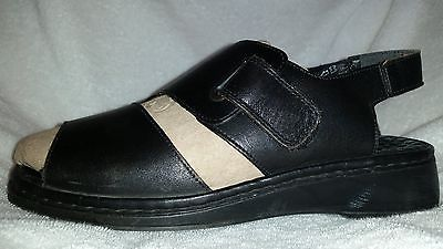 Reiker Women's Anti stress Black Leather Strap Slide Sandals Size 38