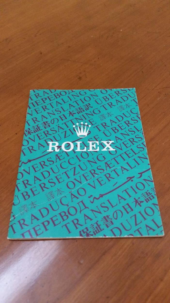 Rolex Oyster Translation Booklet for Certificate Instruction 571.00