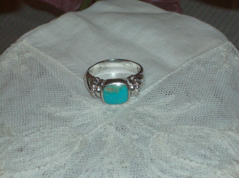 Vintage Sterling Silver Turquoise Mens Ring Size 13.5 EUC Free Shipping