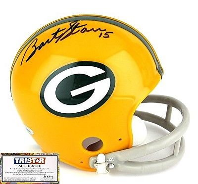 BART STARR AUTOGRAPHED GREEN BAY PACKERS MINI HELMET TRI-STAR HOLO AND COA