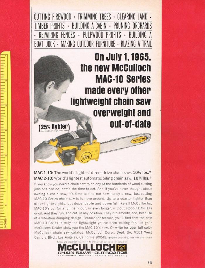 Vintage 1965 McCULLOCH MAC 1-10 & 2-10 CHAIN SAW CHAINSAWS Original Print Ad